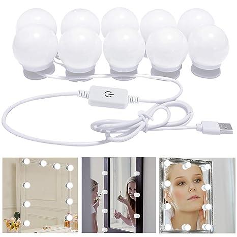 Luces de Espejo de Vanidad, Alimentado por USB Juego de luces LED con Espejo de