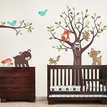 Tree with Forest Friends Wall Decals - Scheme B - by Simple Shapes  sc 1 st  Amazon.com & Amazon.com: Tree with Forest Friends Wall Decals - Scheme B - by ...