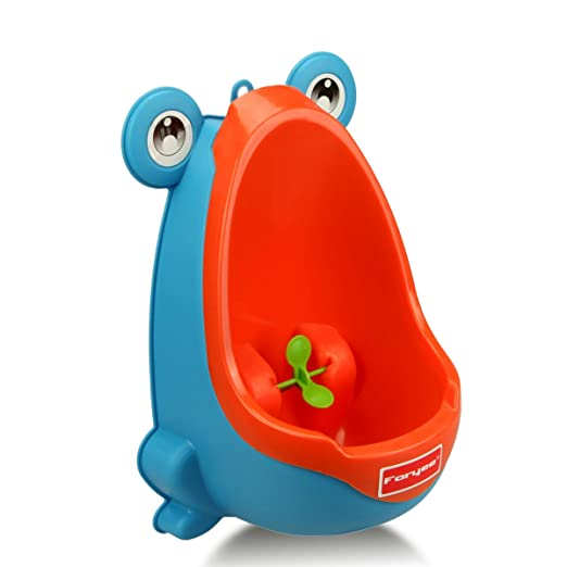 Foryee Cute Frog Potty Training Urinal for Boys with Funny Aiming Target - Blue