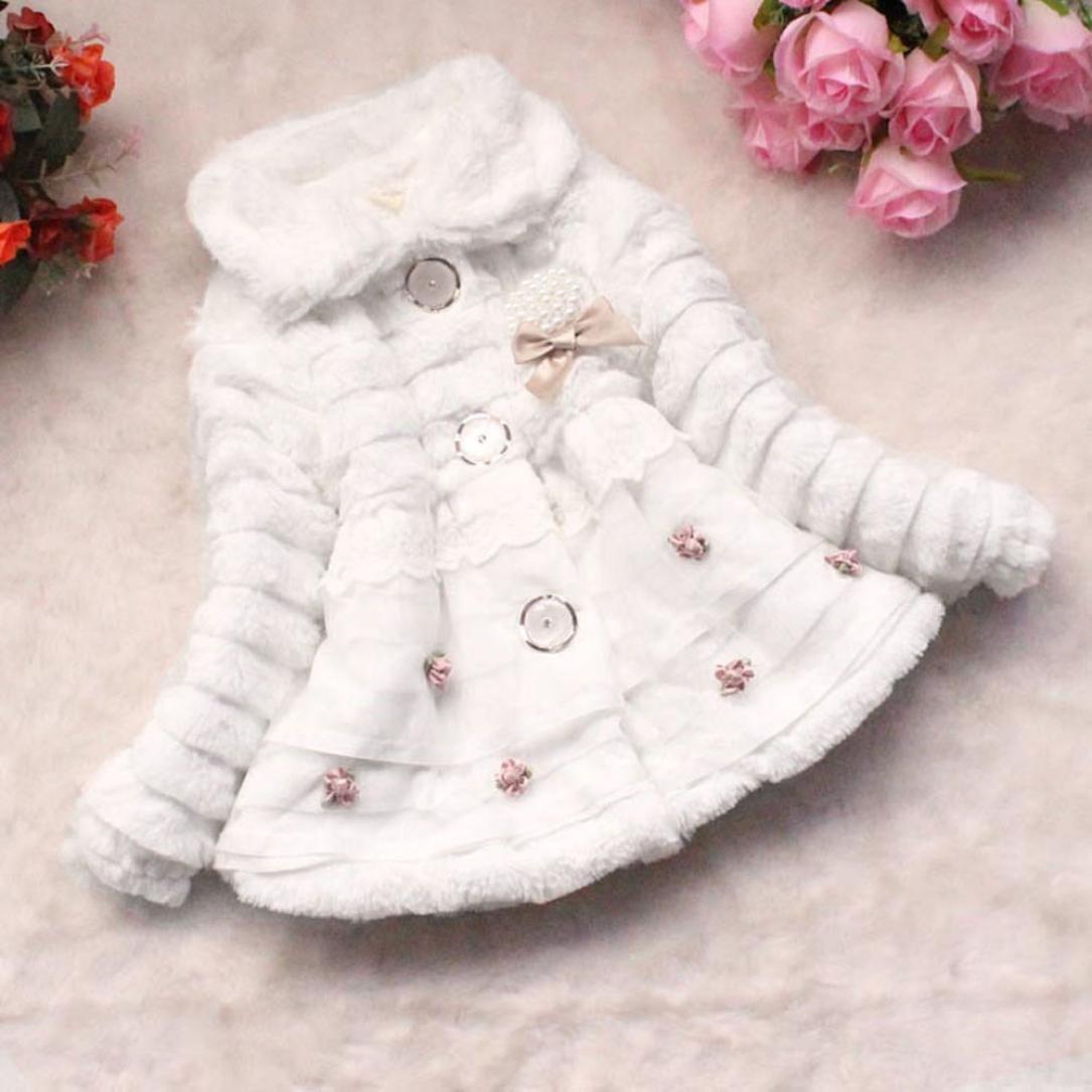 Culater/® Bambino Neonato Ragazze Flanella Cute Principessa Bianca Abbigliamento Perla di Cappello di Palla di Pelo Cozy Inverno Cappotto Caldo Molle Giacca