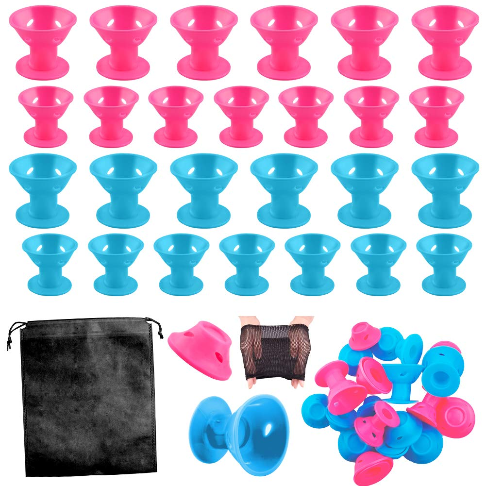 WXJ13 40 Pieces Silicone Hair Curlers Set, 20 Pieces Large and 20 Pieces Small Silicone Hair Rollers Include 2 Net Cap and 1 Storage Bag by WXJ13