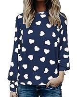 Highpot Women Heart Print Blouses Tops Long Sleeve T-Shirt Valentine's Day Gift