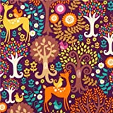 Tissu Michael Miller violet, faon arbre oiseau dans la forêt