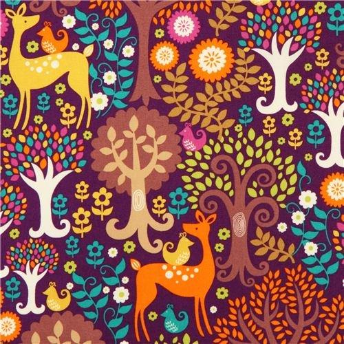 purple forest animal fabric Michael Miller deer tree bird (per 0.5 yard multiples)