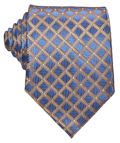 EXT Collectino 100% Silk Necktie, New Classic Checks Blue Gold Tie JACQUARD WOVEN Mens Suits Ties by EXT Collectino