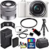 Sony Alpha a5100 Mirrorless Digital Camera with 16-50mm Lens (White) + Sony SEL 1855 18-55mm Zoom Lens + 32GB Bundle 11 - International Version (No Warranty)