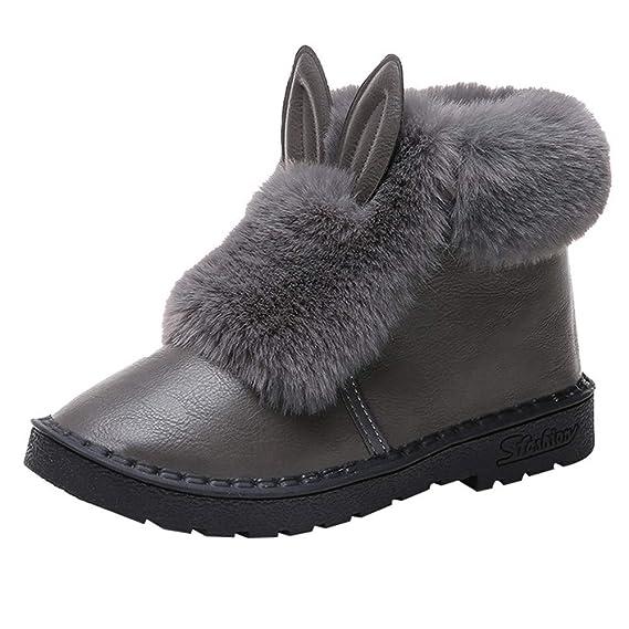 ❤ Botas Cortas de Nieve para Mujer, otoño Invierno Orejas de Conejo Botas Planas de Invierno cálidos Zapatos de Cordones Botas de Nieve de Tobillo de ...