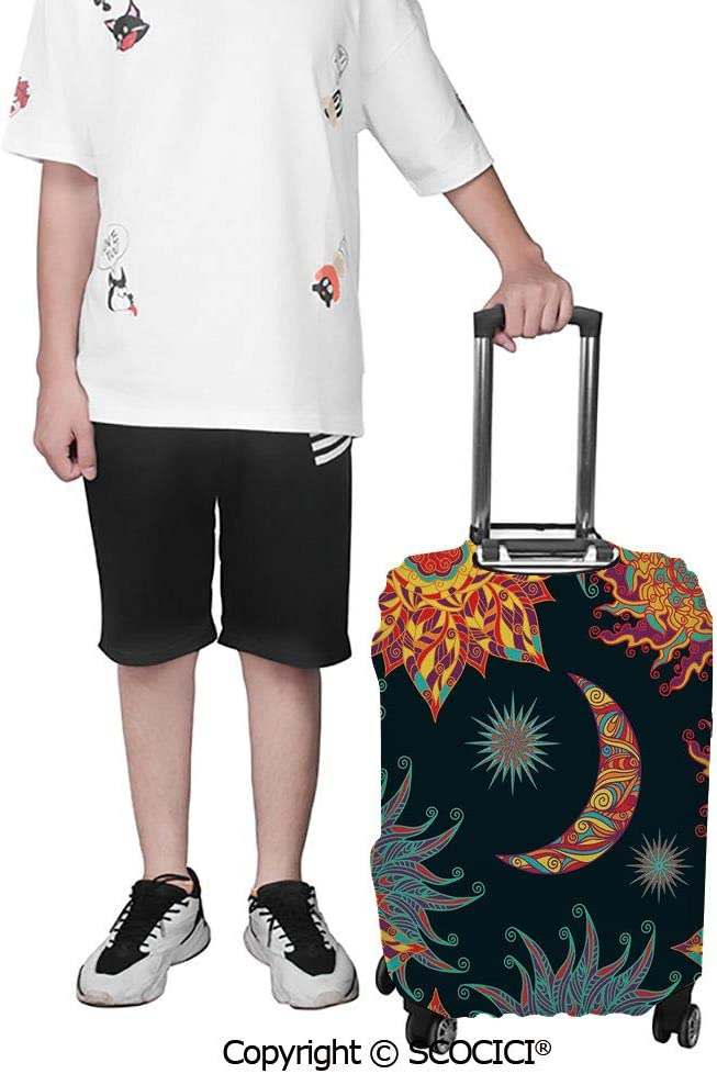 SCOCICI Cruel Evil Dead Man Skull Corsair with Rasta Hair and Iconic Hat Filibuster Suitcase Cover Protective Luggage Cover Customized Fits 19-32 Inch