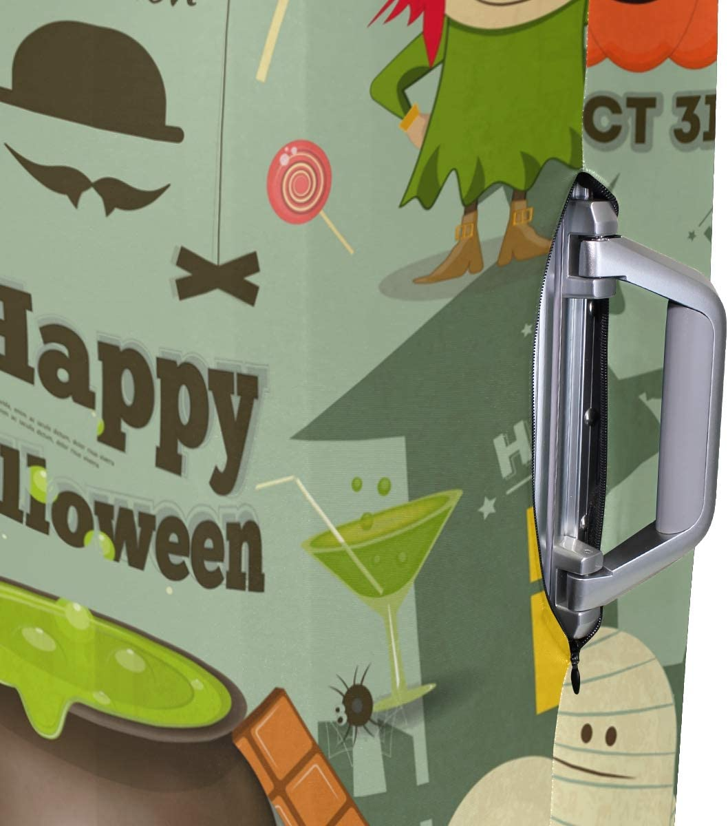 FOLPPLY Halloween Card Pumpkin Bat Luggage Cover Baggage Suitcase Travel Protector Fit for 18-32 Inch