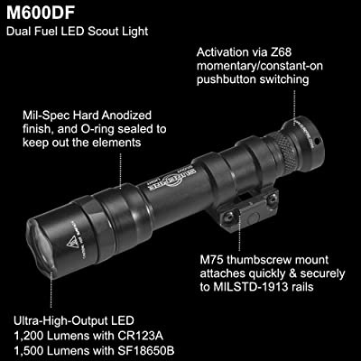 SureFire M600DF-BK M600DF Scout Dual Fuel LED Weaponlight Thumbscrew Mount Black