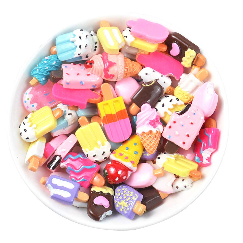 X Hot Popcorn Pretend Play Food, DIY Mobile Phone Case Accessories, Plastic Dolls Miniature Pretend Toy Decor, Pack of 100(Ice Cream)