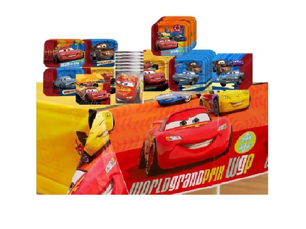 Disney Cars 2 Deluxe Party Supplies Pack Including Plates, Cups, Tablecover and Napkins- 16 Guest