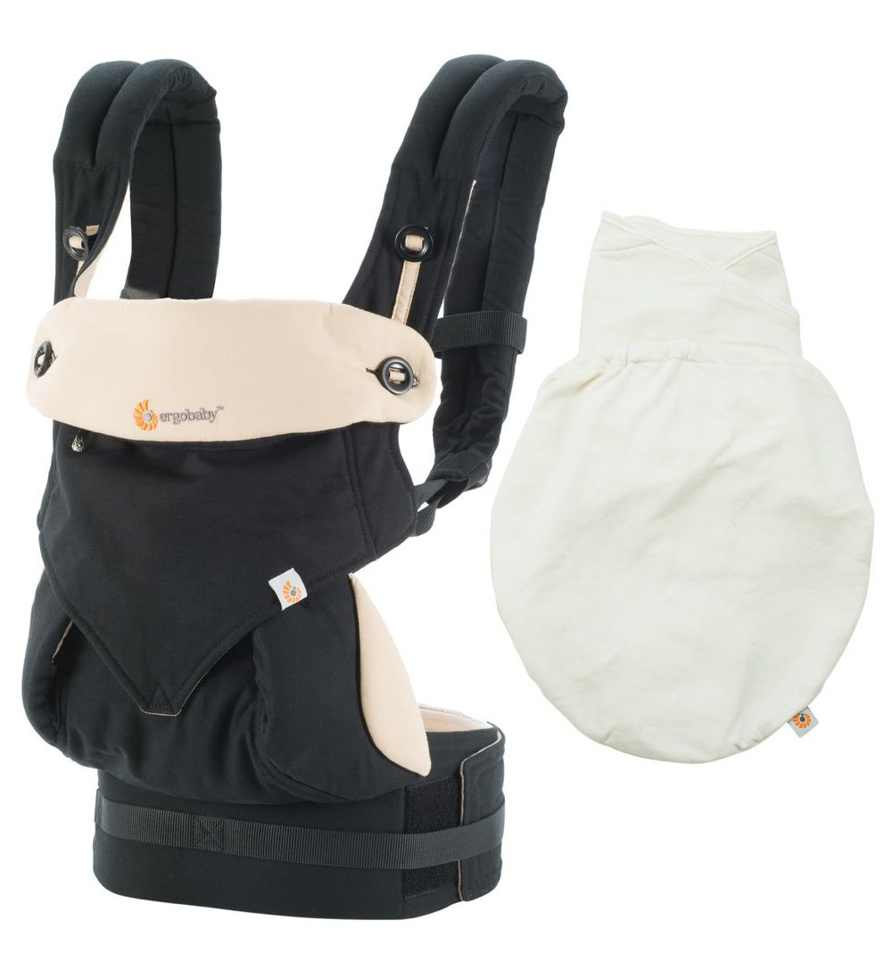 Ergobaby 360 All Carry Position Award-Winning Ergonomic Baby Carrier (Black/Camel PLUS Swaddler Natural , S/M)