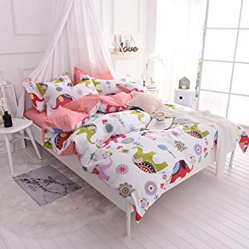 Toddler Girl Full Size Bedding Sets.Otob Girls Full Size Bedding Sets Cotton Boys Elephant Duvet Cover Set Queen With Zipper Ties Pink For Kids Adults Toddler Bed Cartoon Animal Polka