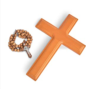 VINETEN Handmade Crucifix Wall Cross - Wooden Cross 10.2 Inch - Catholic Hanging Crucifix for House Decor