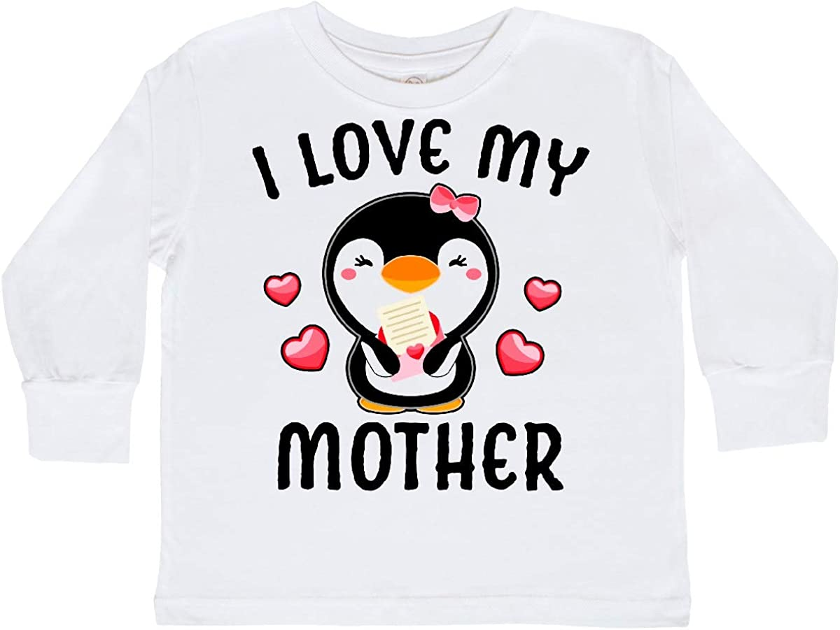 inktastic I Love My Mother with Cute Penguin and Toddler Long Sleeve T-Shirt