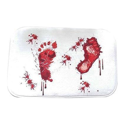 Halloween Red Blood Bath Bathroom Bloody Mat Footprint Horrible Anti-slip Rug MY