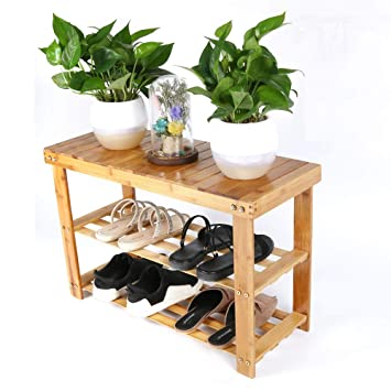 Amazoncom Natural Bamboo Shoe Rack Organizer And Foot Stool 2