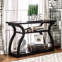 Furniture of America Sara Black Finish Console Table, wood veneer