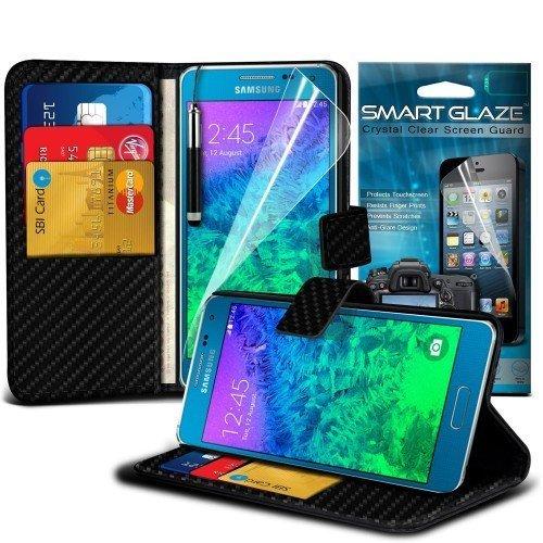 Samsung Galaxy Alpha Carbon Cubierta del caso con cuero (Negro) Plus de regalo libre, Protector de pantalla y un lápiz óptico, Solicitar ahora mejor caja del teléfono Valorado en Amazon! By FinestPhon