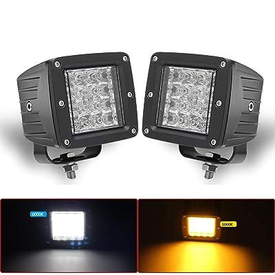 LED Work Light Bar pair Strobe 3'' Inch Cube Pods Led Fog Lights Dual Color(3000K/6500K) Fog Lights for Car Truck Boat Off-road: Automotive