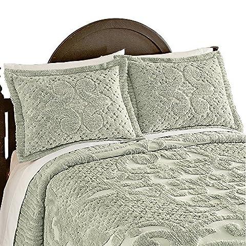 Ashton Chenille Pillow Sham, Sage, Sham - Sage Green Chenille