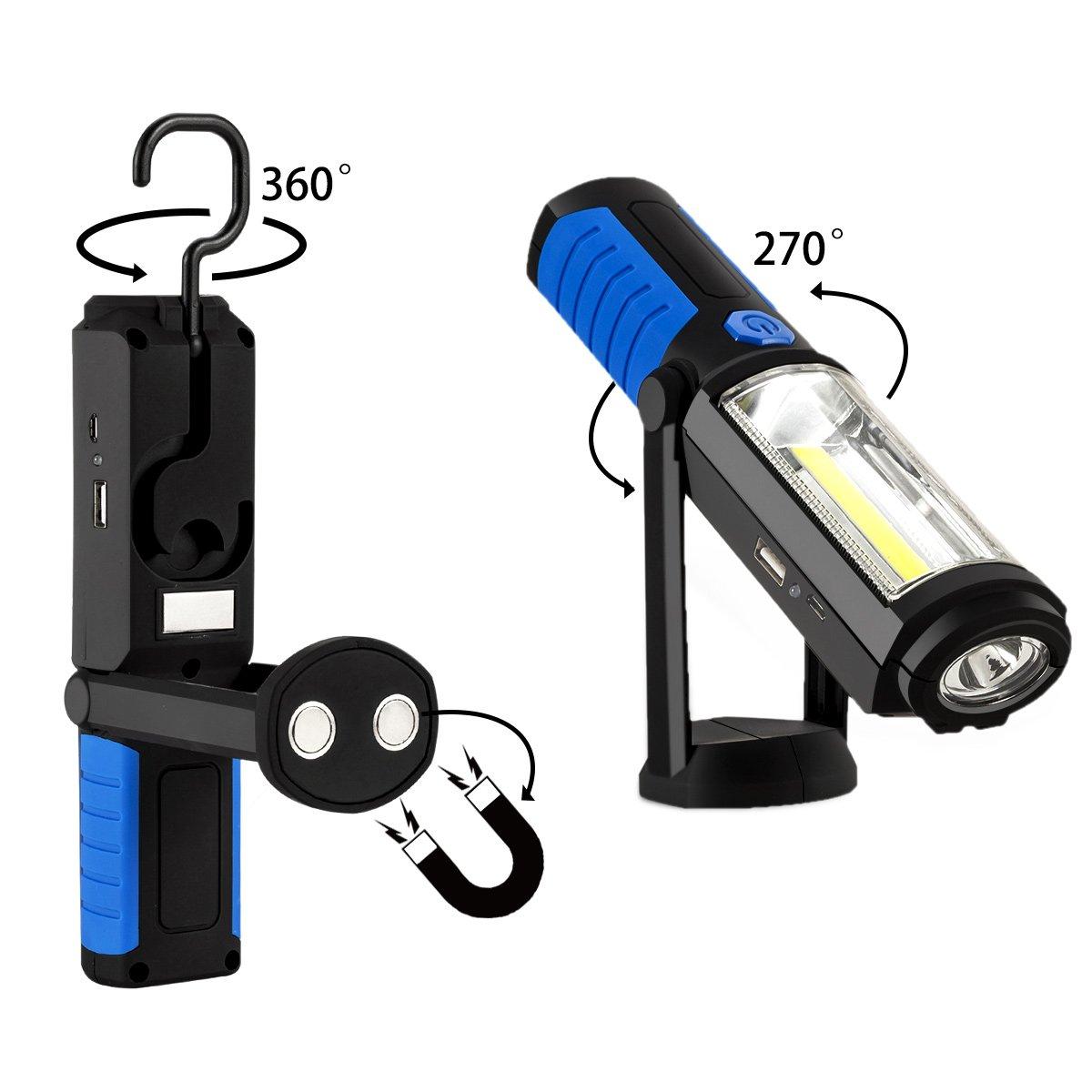Witasm Linterna de Trabajo Recargable de COB LED Lámpara de Inspección Luz Portátil de Trabajo con Soporte Magnético Batería de Litio Cable USB y Gancho ...