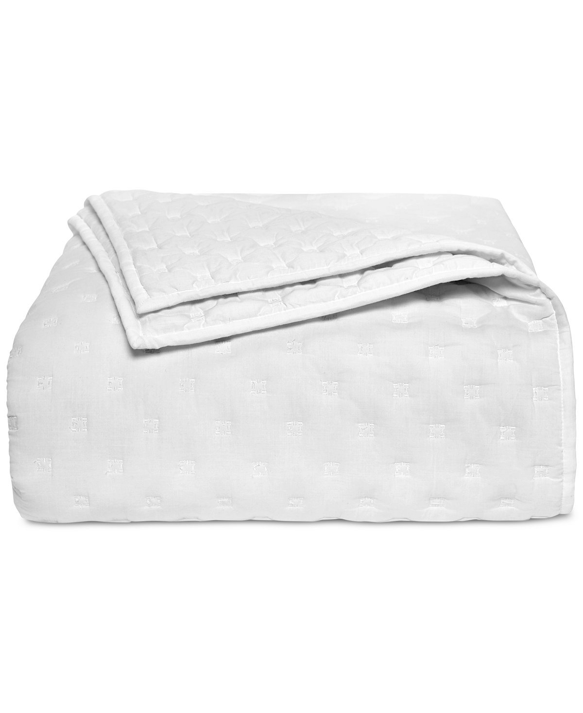 Hotel Collection Pleated Stripe Quilted Full/Queen Coverlet Cotton White Coverlet Quilt with Geometric Pattern
