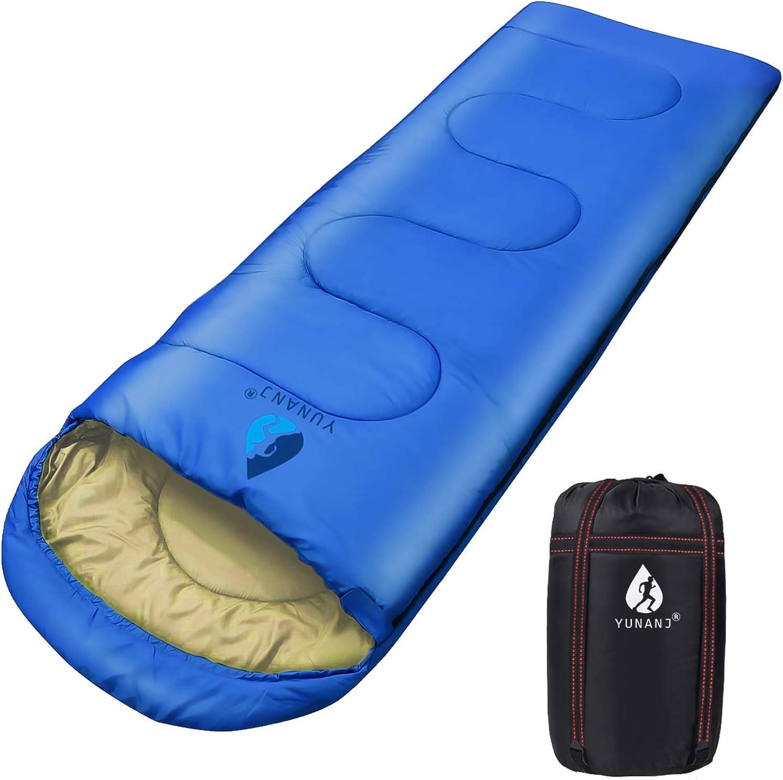 Yuanj Saco de dormir para camping, 2 kg, ultraligero, saco de dormir para adultos y niños, impermeable, con cabecero en invierno / 3 – 4 temporadas