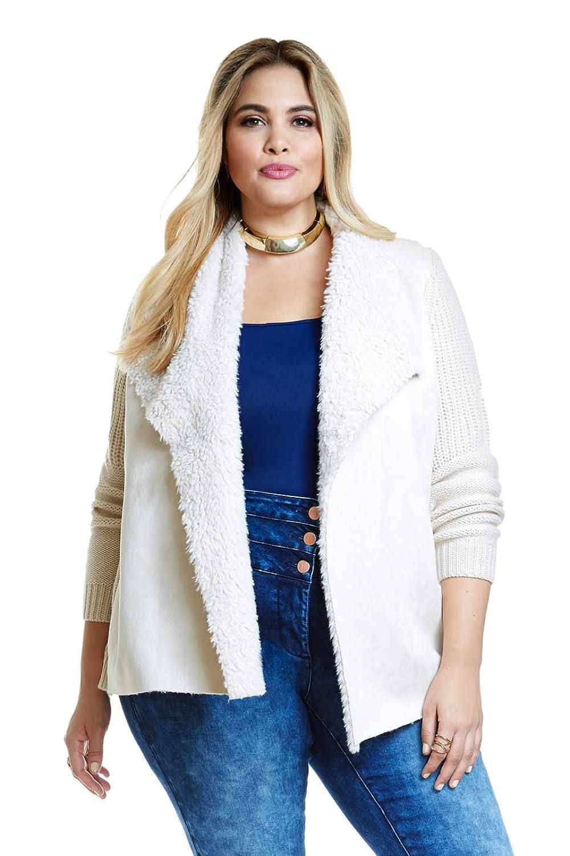 Women's Plus Size Nora Sherpa White Cardigan