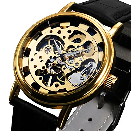 Mens Watch Mechanical Black Leather Strap Hand Winding Analog Skeleton Luxury