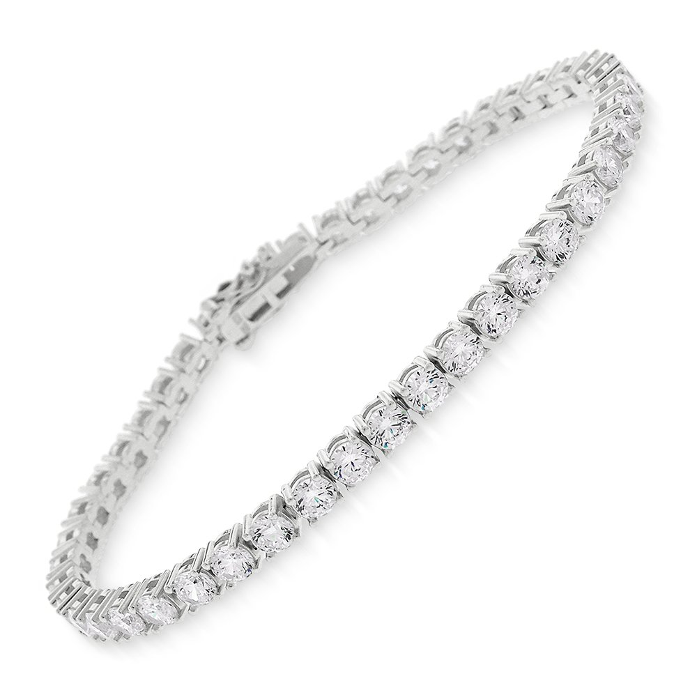 Sterling Silver 3.5mm Brilliant-Cut Clear Round CZ White Tennis Bracelet 6.5'', 7'', 8'' (7)