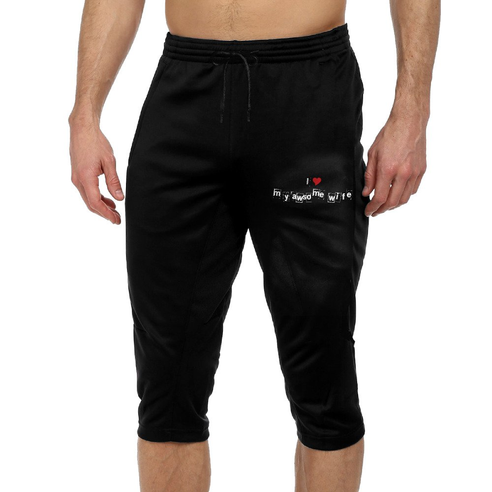 GYang I Love My Awsome WifeMens' Seven-point Pants Casual Funny Printed Loose Shorts Leggings Trousers Joggers