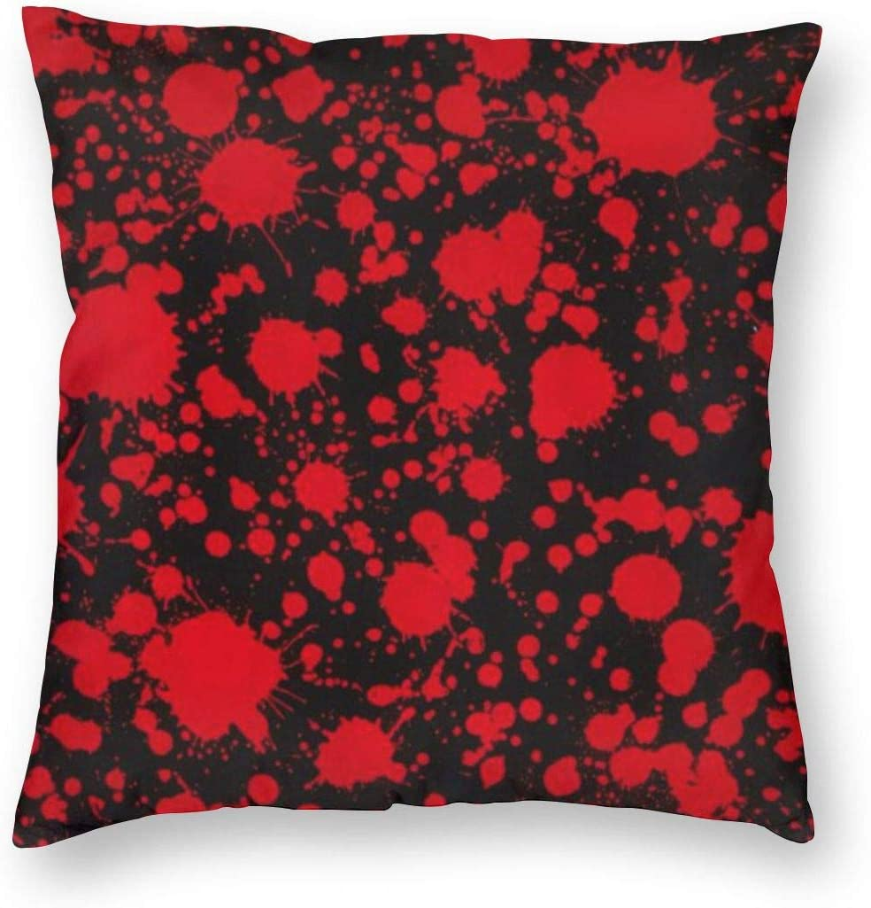 ~ Classic Horror Blood Splatter Black Home Decor Throw Pillow Cover, Lightweight Soft Plush Square Decorative Pillow Case 18x18 Inch Cushion Cover, Sham Stuffer, Machine Washable
