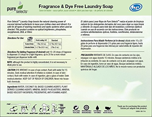 Amazon.com : Pure Selects Fragrance & Dye Free Laundry Soap • All Natural • HE • 640 Loads • Sensitive Skin Friendly • 5 Gallons •NO ANIMAL TESTING • PUMP ...