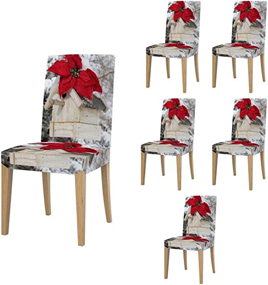 Amazon Com Super Fit Stretch Jacquard Removable Washable Short Dining Chair Covers Seat Slipcover For Christmas Dining Room Ceremony Banquet Wedding Party 028 Christmas Bird House Home Kitchen