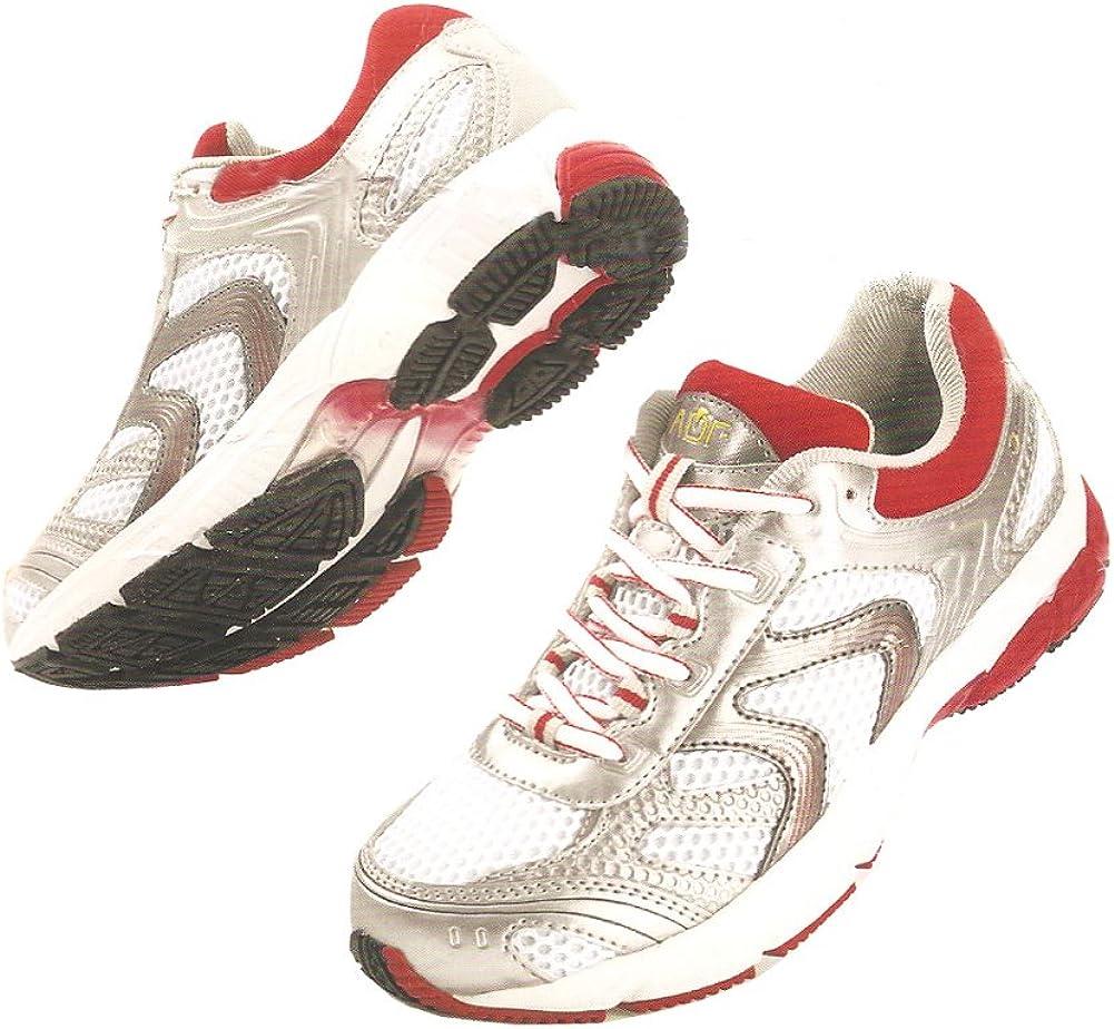 Crivit - Zapatillas de Running de Material Sintético para Mujer, Color Blanco - White/Red/Silver, tamaño 37 EU: Amazon.es: Zapatos y complementos