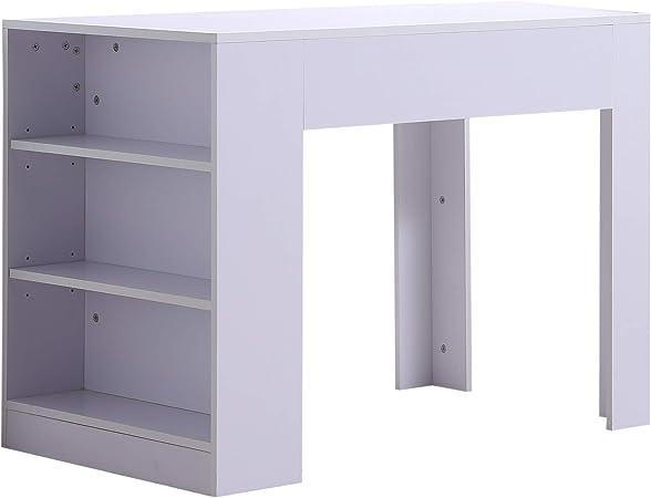 HOMCOM - Mesa de Escritorio con 3 estantes de Madera, Color Blanco ...