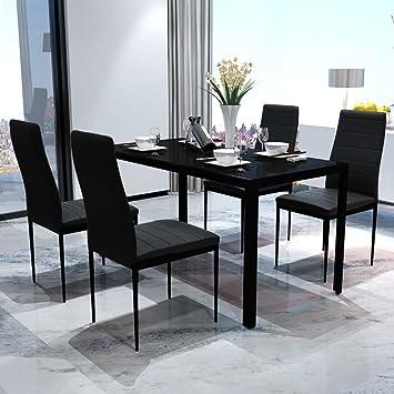 Vislone Conjunto de Mesa y 4 Sillas de Comedor Mesa de Comedor con Sillas de Vidrio Templado Negro: Amazon.es: Juguetes y juegos