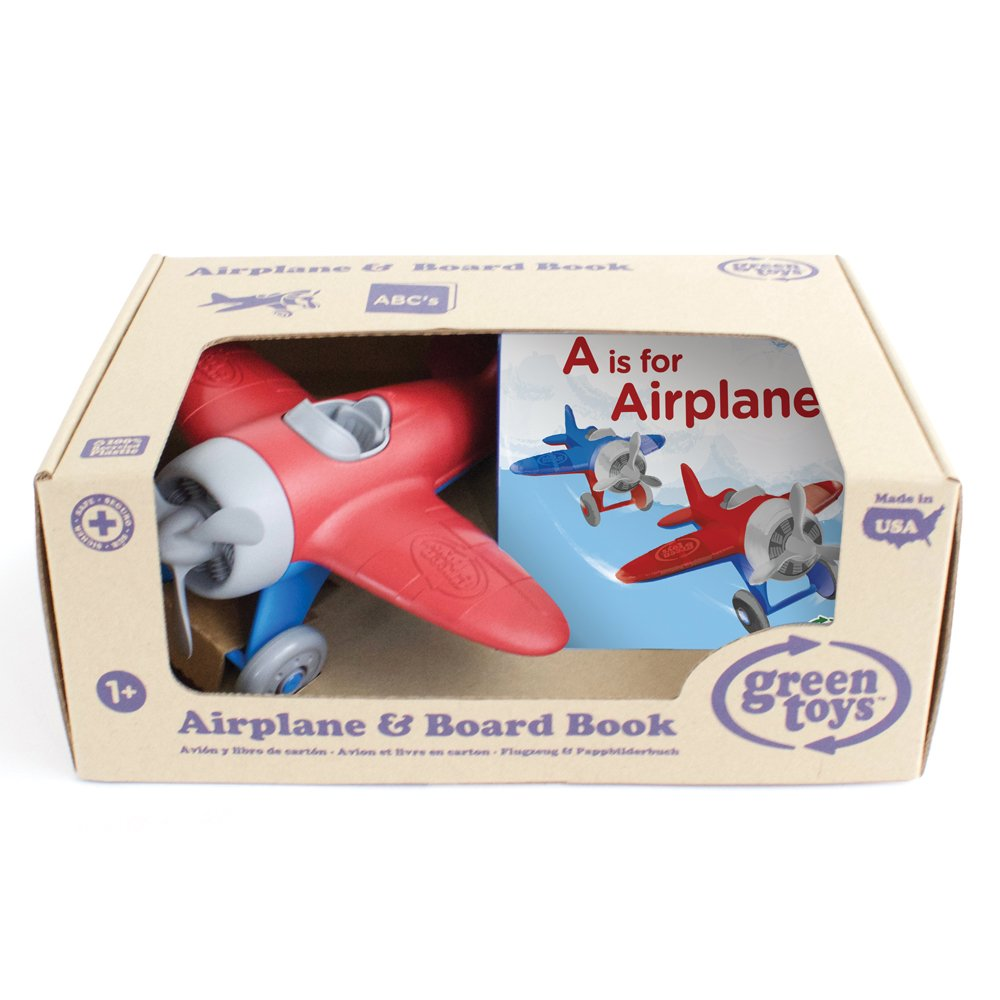 Green Toys Airplane and Board Book 8164090-12359-ARBB-1235