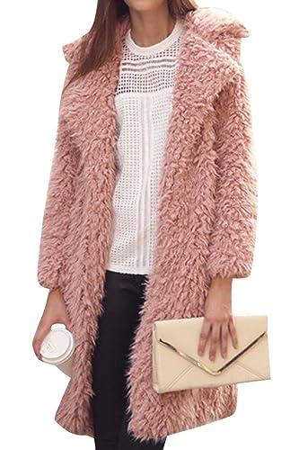 Azbro Mujer Abrigo de Mezcla de Lana Cuello de Solapa Frente Abierta