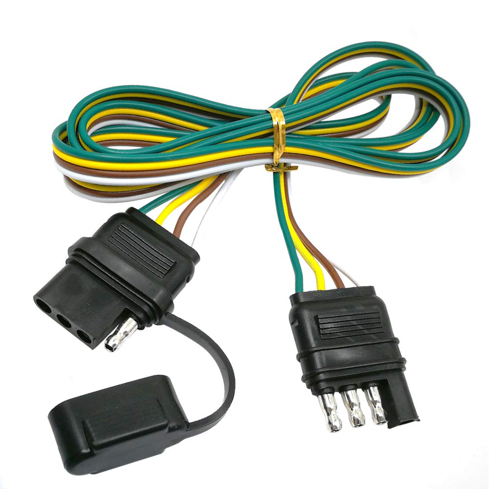 CARROFIX 4 Wire Flat Extension 60'' 4-Pin Trailer Wiring Harness Male & Female Connector by CARROFIX