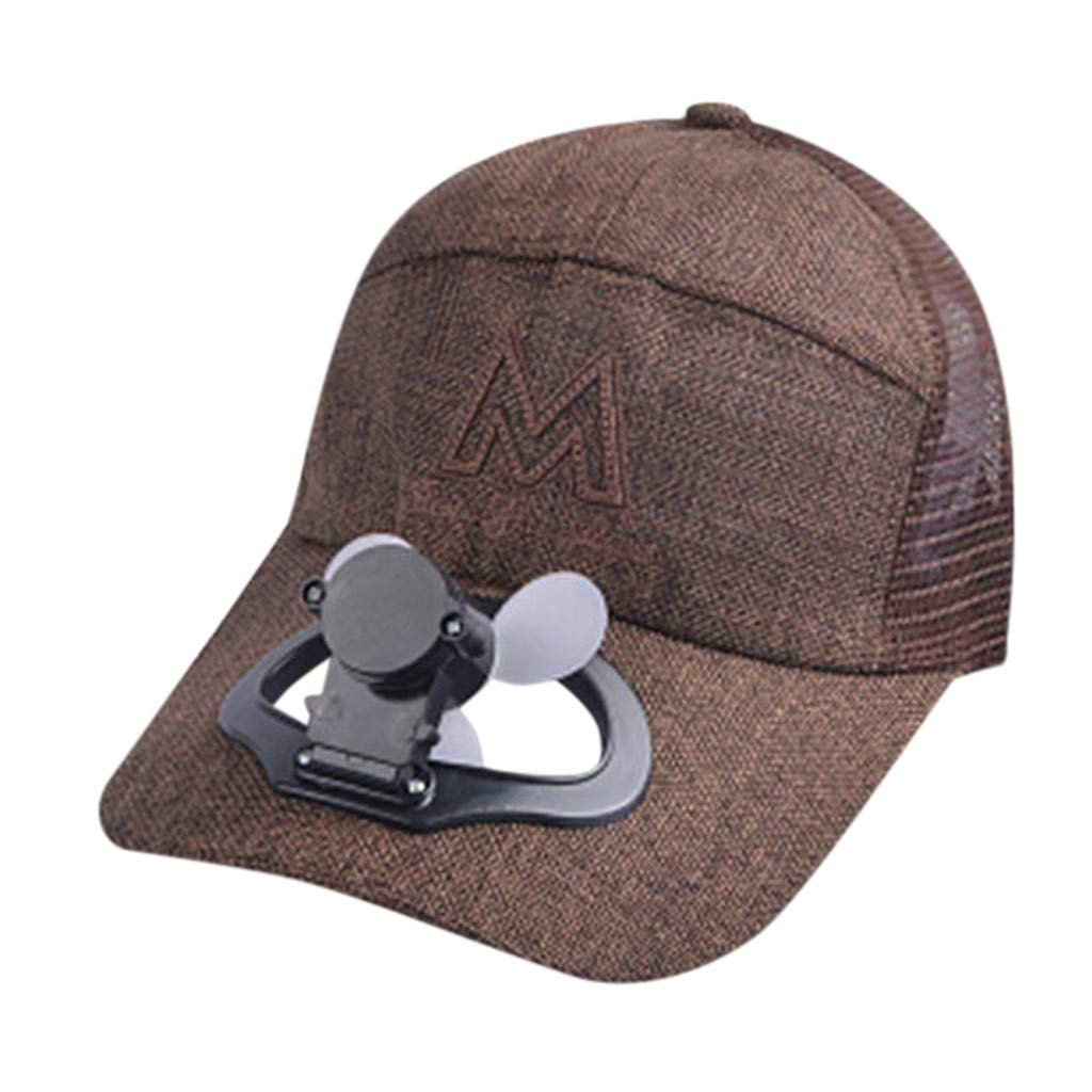 TIFENNY 2019 New Fan Cap Summer Fan Cooling Baseball Cap Hat USB Charging Breathable Shade Sunscreen Hat Coffee