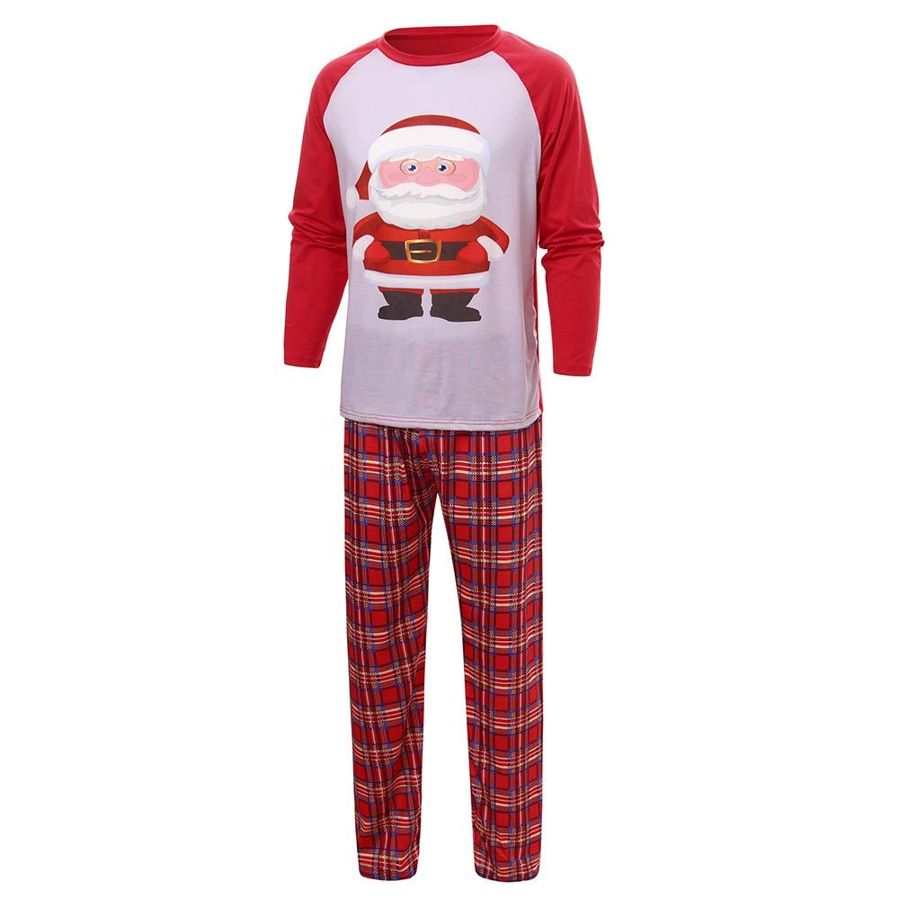 Gufenban Christmas Pajamas for Family,Santa Claus Print 2Pcs PJs Sets Long Sleeve T-Shirt+Plaid Long Pants Sleepwear Homewear (Men-Red,L)