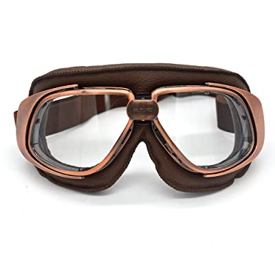 evomosa Motorcycle Goggles Vintage Pilot Style Cruiser Scooter Goggle Outdoor Sand Goggles Bike Racer Cruiser Touring Eyewear: Automotive