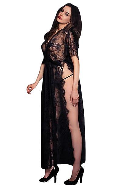 Moda Mujers Kaftan traje negro de encaje transparente con la ...