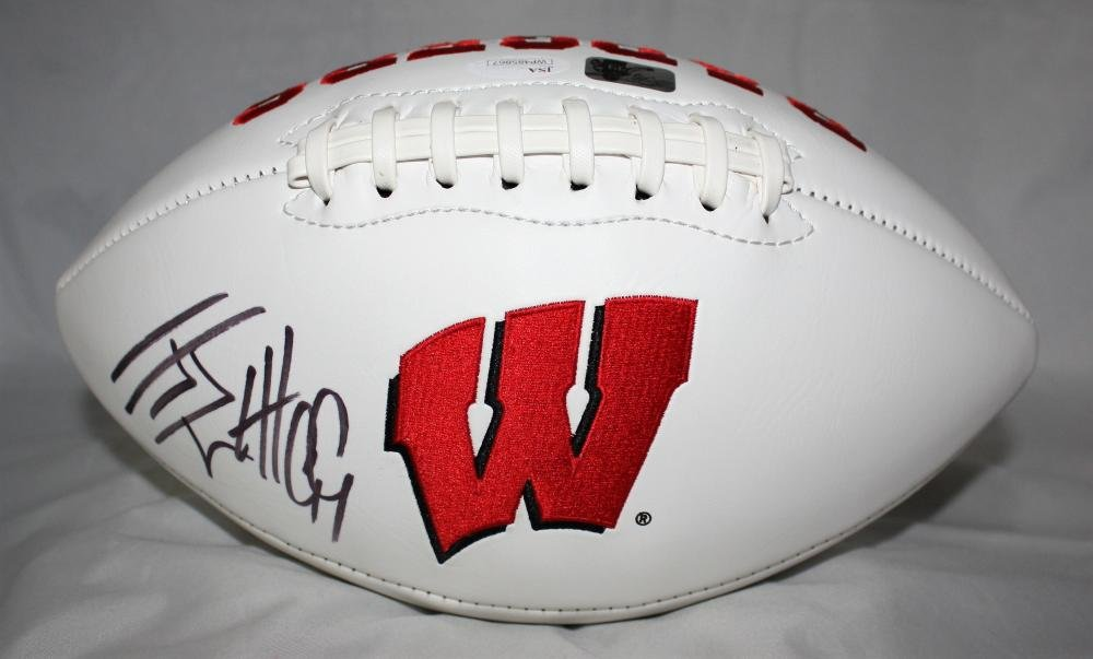 JJ Watt Autographed Wisconsin Badgers Logo Football with JSA Witnessed Auth