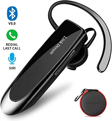 Amazon Com Bluetooth Earpiece Link Dream Wireless Headset With Mic 24hrs Talktime Hands Free In Ear Headphone Compatible With Iphone Samsung Android Smart Phones Driver Trucker Black