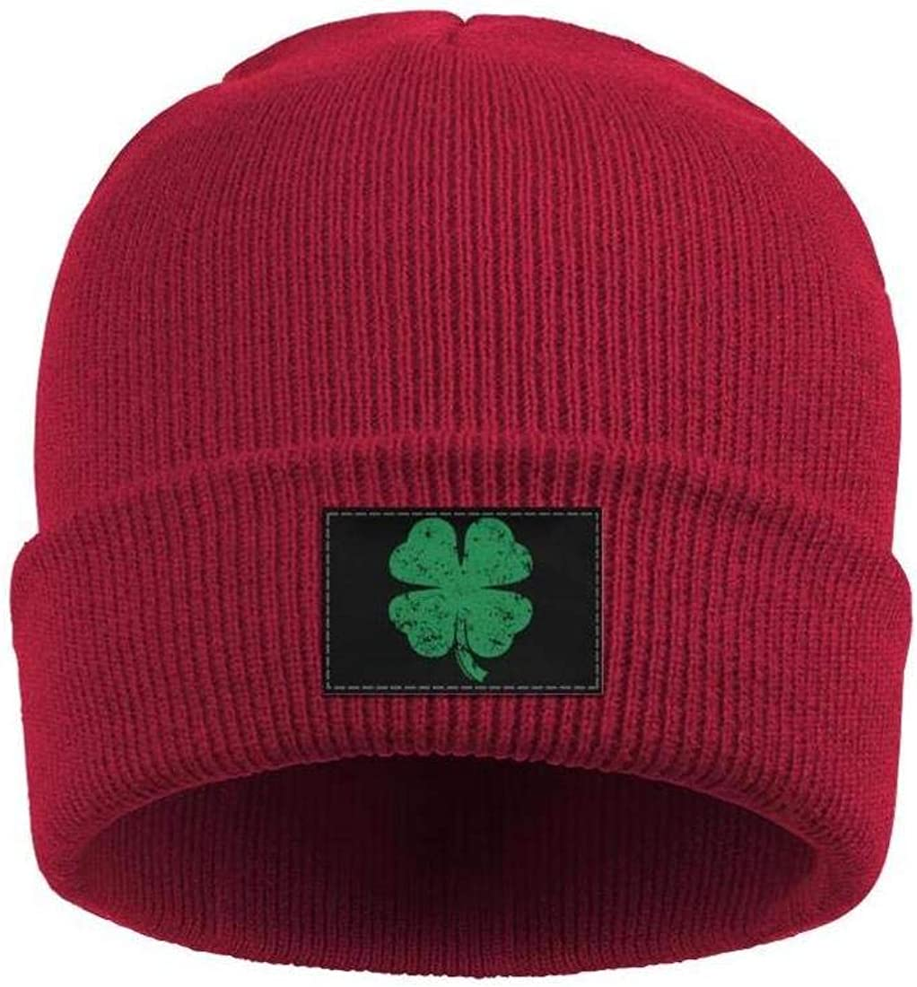Stretchy Cuff Beanie Hat Black Skull Caps Lucky Clover Winter Warm Knit Hats