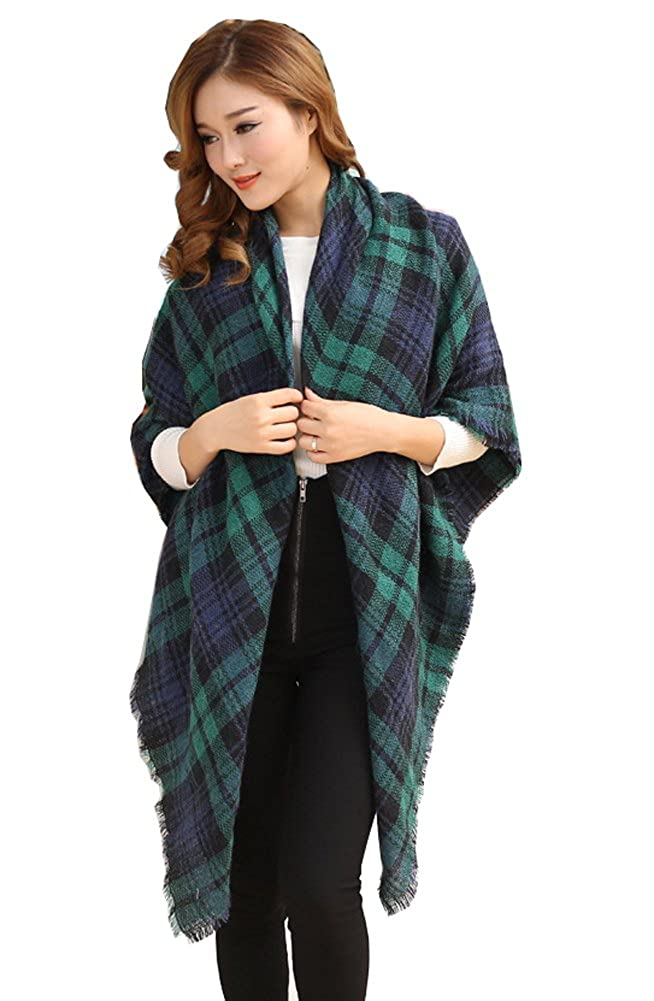 Unisex Large Tartan Plaid Checked Scarf Shawl Stole Blanket Wrap Green 03W3444G